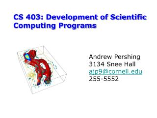CS 403: Development of Scientific Computing Programs
