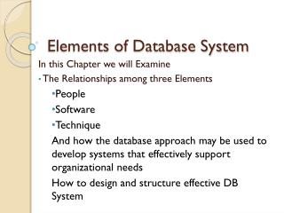 Elements of Database System