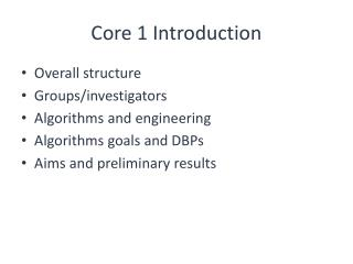 Core 1 Introduction