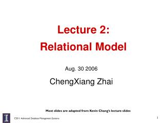 Lecture 2:  Relational Model