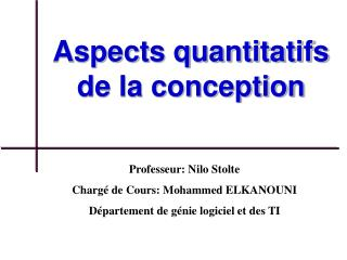 Aspects quantitatifs de la conception
