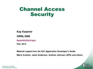 Channel Access Security