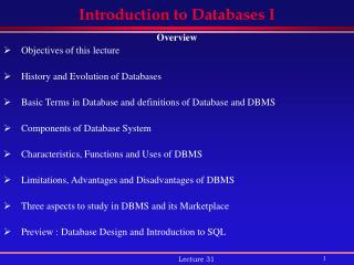 Introduction to Databases I