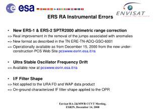 ERS RA Instrumental Errors