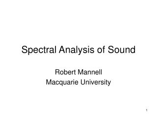 Spectral Analysis of Sound