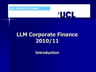 LLM Corporate Finance  2010/11 Introduction