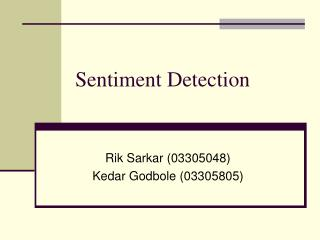 Sentiment Detection