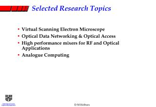 Selected Research Topics