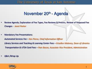 November 20 th  - Agenda
