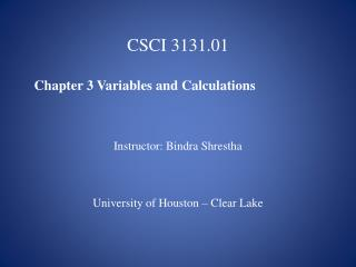 CSCI 3131.01   Chapter 3 Variables and Calculations Instructor: Bindra Shrestha