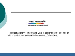 Heat Aware - Stress Awareness Card & Safety Tips