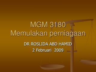 MGM 3180 Memulakan perniagaan