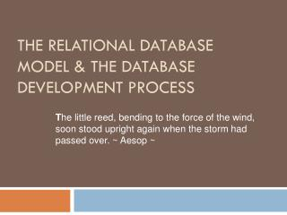 The Relational Database Model & The Database Development Process