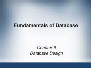 Fundamentals of Database