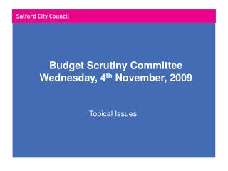 Budget Scrutiny Committee Wednesday, 4 th  November, 2009