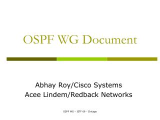 OSPF WG Document