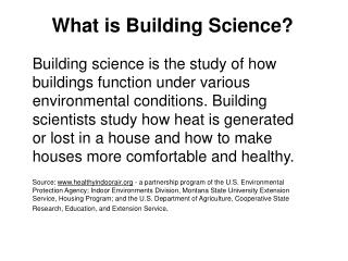What is Building Science?