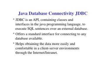 Java Database Connectivity JDBC