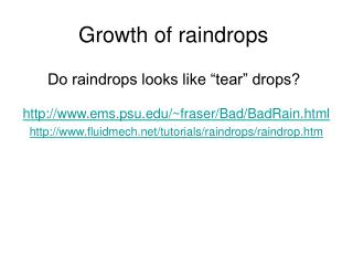 Growth of raindrops