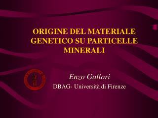 ORIGINE DEL MATERIALE GENETICO SU PARTICELLE MINERALI