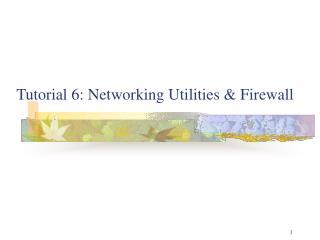 Tutorial 6: Networking Utilities & Firewall