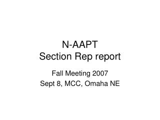 N-AAPT Section Rep report