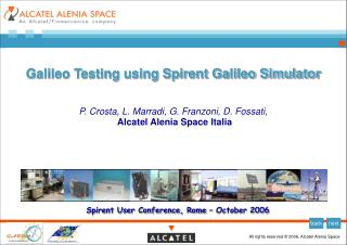 Galileo Testing using Spirent Galileo Simulator