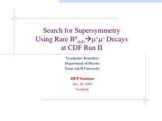 Search for Supersymmetry  Using Rare B 0 s(d)  m + m - Decays  at CDF Run II