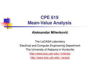 CPE 619 Mean-Value Analysis