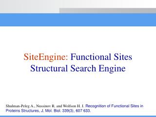 SiteEngine:  Functional Sites Structural Search Engine