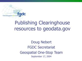 Publishing Clearinghouse resources to geodata
