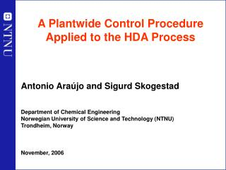 A Plantwide Control Procedure Applied to the HDA Process