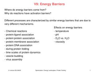 V9: Energy Barriers