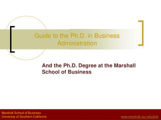 Guide to the Ph.D. in Business Administration