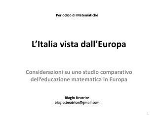 L'Italia vista dall'Europa