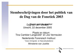 Stembeschrijvingen door het publiek van  de Dag van de Fonetiek 2003