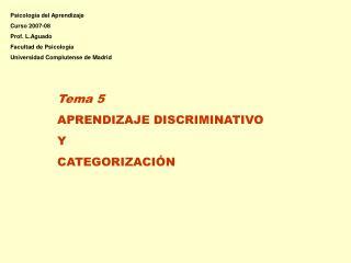Tema 5 APRENDIZAJE DISCRIMINATIVO Y  CATEGORIZACIÓN