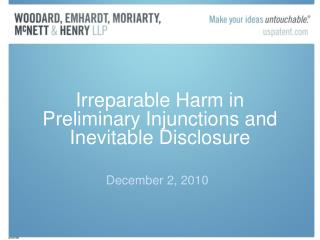 Irreparable Harm in  Preliminary Injunctions and Inevitable Disclosure