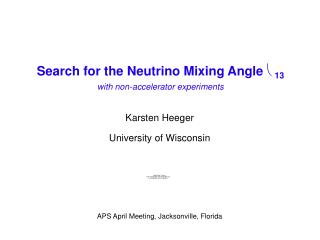Search for the Neutrino Mixing Angle  θ 13 with non-accelerator experiments