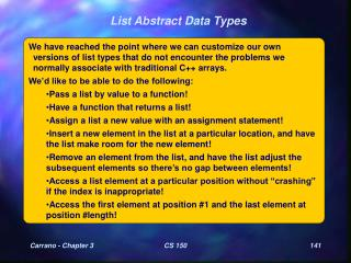 List Abstract Data Types