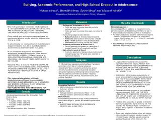 Bullying, Academic Performance, and High School Dropout in Adolescence