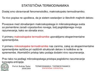 STATISTIČNA TERMODINAMIKA