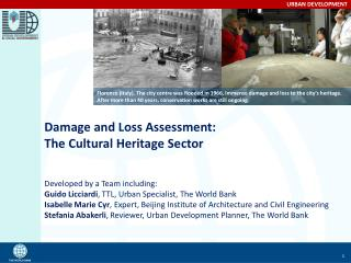 Damage and Loss Assessment: The Cultural Heritage Sector Developed by a Team including: