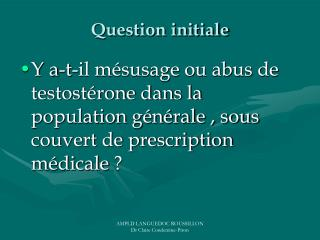 Question initiale