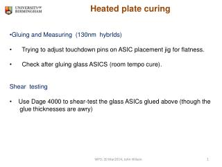 Heated plate curing