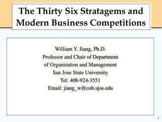 The Thirty Six Stratagems and Modern Business Competitions