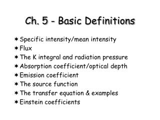 Ch. 5 - Basic Definitions