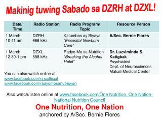 Makinig tuwing Sabado sa DZRH at DZXL!