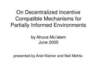presented by Ariel Kleiner and Neil Mehta