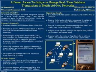 A Power Aware Technique to Manage Real-Time Database Transactions in Mobile Ad-Hoc Networks